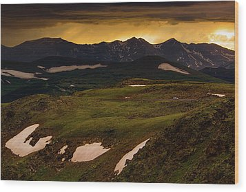 Wood Print featuring the photograph A Stormy Alpine Sunset by John De Bord