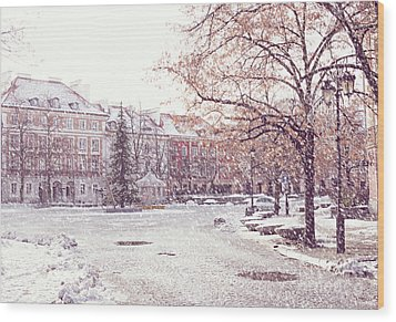 Wood Print featuring the photograph A Street In Warsaw, Poland On A Snowy Day by Juli Scalzi