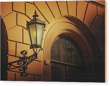 Wood Print featuring the photograph A Street Lamp In Lisbon Portugal  by Carol Japp
