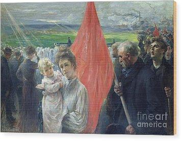 A Strike At Saint Ouen Wood Print by Paul Louis Delance