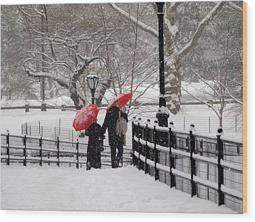 Winter Under Red Umbrellas Wood Print