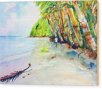 A Stroll On Batibou Beach Dominica Wood Print by Carlin Blahnik