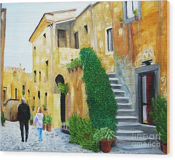 A Stroll With Papa In Italy Wood Print by Nathan Rodholm