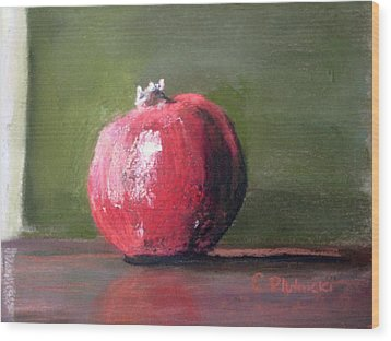 Wood Print featuring the pastel A Study Of Pomegranite by Cindy Plutnicki