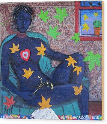 A Sudden Gust Of Wind Blows A Rhapsody In Blue Wood Print by Susan Stewart