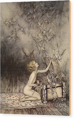 A Sudden Swarm Of Winged Creatures Brushed Past Her Wood Print by Arthur Rackham