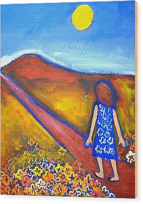 Wood Print featuring the painting A Sunny Path by Winsome Gunning