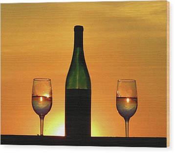 A Sunset In Each Glass Wood Print
