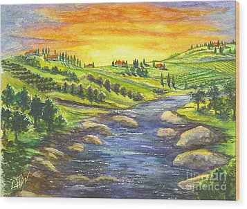 Wood Print featuring the painting A Sunset In Wine Country by Carol Wisniewski