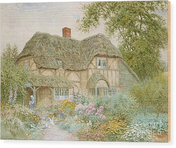 A Surrey Cottage Wood Print by Arthur Claude Strachan