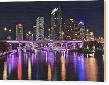 A Tampa Night Wood Print by Frozen in Time Fine Art Photography