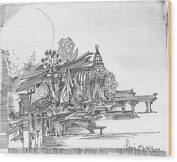 Wood Print featuring the drawing A Temple A Building And Some Trees by Padamvir Singh
