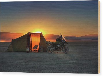 Wood Print featuring the photograph A Tent, A Motorcycle, And A Sunset On The Playa by Peter Thoeny