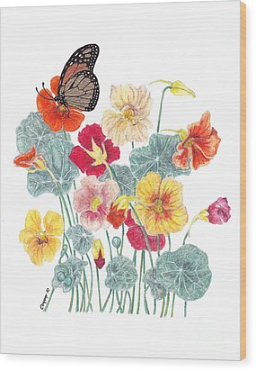 Wood Print featuring the painting A Tethered Butterfly by Stanza Widen
