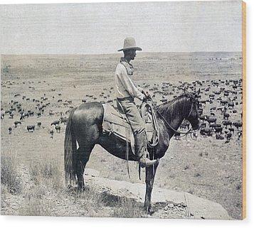 A Texas Cowboy On Horseback On A Knoll Wood Print by Everett