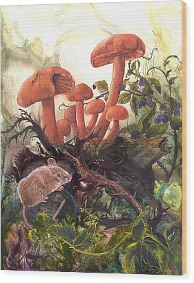 Wood Print featuring the painting A Thorny Situation by Sherry Shipley