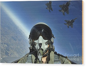 A Three-ship Formation Of F-15e Strike Wood Print by Stocktrek Images