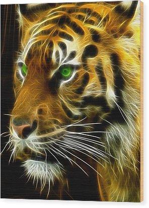 A Tiger's Stare Wood Print by Ricky Barnard
