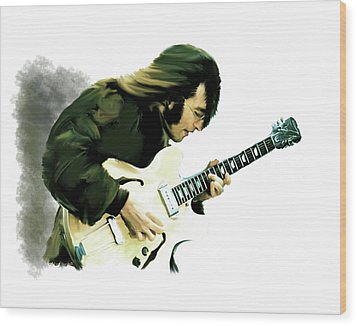 A Time It Was John Lennon Wood Print by Iconic Images Art Gallery David Pucciarelli