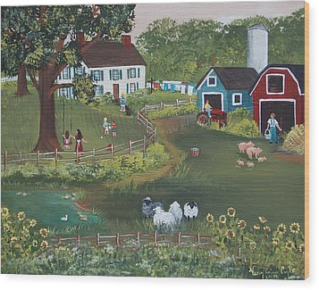 Wood Print featuring the painting A Time To Play by Virginia Coyle