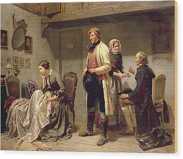 A Toast To The Engaged Couple Wood Print by Carl Wilhelm Huebner