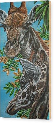 A Tower Of Giraffes Wood Print