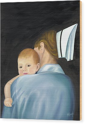 Wood Print featuring the painting Comforting A Tradition Of Nursing by Marlyn Boyd