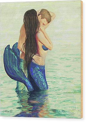 Wood Print featuring the painting A Treasured Love by Leslie Allen