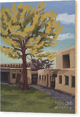 Wood Print featuring the painting A Tree Grows In The Courtyard, Palace Of The Governors, Santa Fe, Nm by Erin Fickert-Rowland