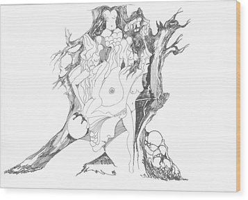 Wood Print featuring the drawing A Tree Human Forms And Some Rocks by Padamvir Singh