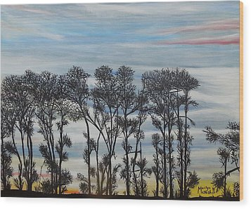 Wood Print featuring the painting A Treeline Silhouette by Marilyn  McNish