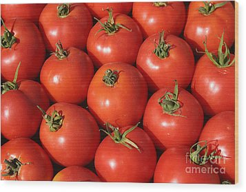 A Trip Through The Farmers Market With Red Tomatoes Wood Print by Michael Ledray