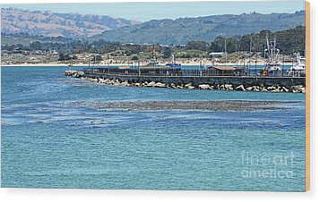 Wood Print featuring the photograph A Tropical Day At The Monterey Coast Guard Pier by Susan Wiedmann