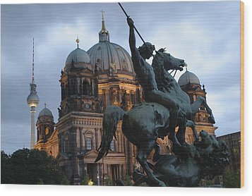 A Twilight View Of The Berlin Cathedral Wood Print by Jim Webb