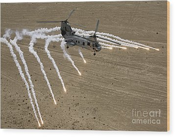 A U.s. Marine Corps Ch-46 Sea Knight Wood Print by Stocktrek Images