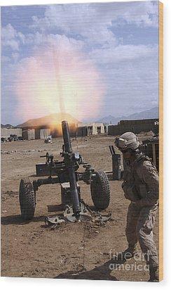 A U.s. Marine Corps Gunner Fires Wood Print by Stocktrek Images