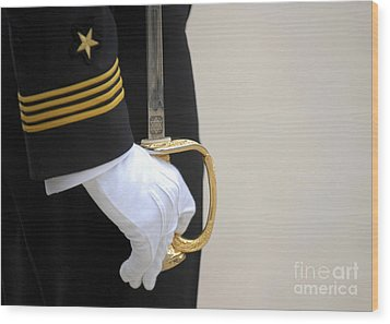 A U.s. Naval Academy Midshipman Stands Wood Print by Stocktrek Images