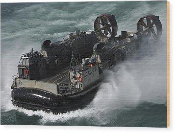 A U.s. Navy Landing Craft Air Cushion Wood Print by Stocktrek Images