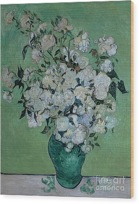 A Vase Of Roses Wood Print by Vincent van Gogh