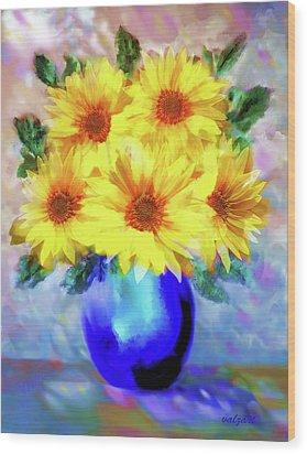 A Vase Of Sunflowers Wood Print