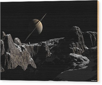 Wood Print featuring the digital art A View From Iapetus by David Robinson