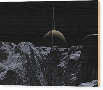 Wood Print featuring the digital art A View From Rhea by David Robinson
