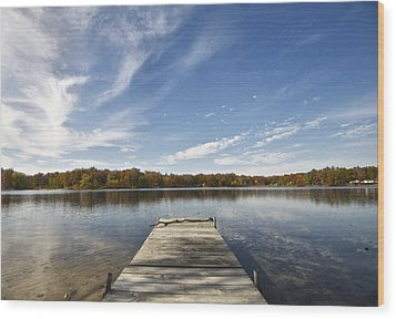 A View From The Dock Wood Print by Sheryl Thomas