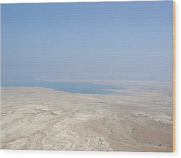 A View Of The Dead Sea From Masada Wood Print by Susan Heller