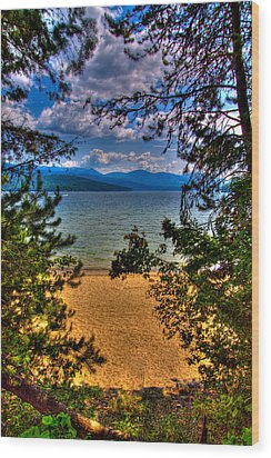 A View Of The Lake Wood Print by David Patterson