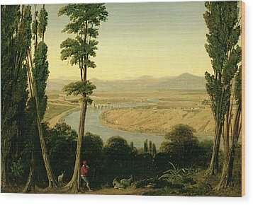 A View Of The Tiber And The Roman Campagna From Monte Mario Wood Print by William Linton