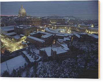 A View Of Vatican City In The Snow.  It Wood Print by James L. Stanfield