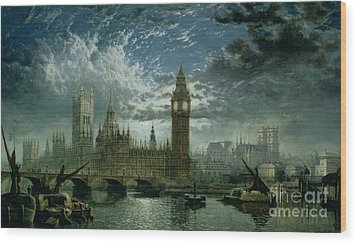 A View Of Westminster Abbey And The Houses Of Parliament Wood Print by John MacVicar Anderson