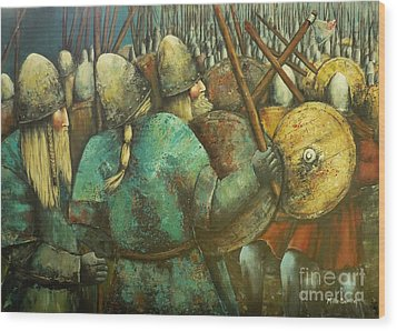 A Viking Skirmish Wood Print