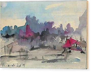 A Village Among The Hills Wood Print